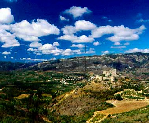 The Cathar Chteau dAguilar above the town of   Tuchan and its vineyards in the Verdouble valley   Aude France     Fitou  Corbires