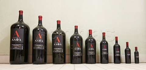 Variety of bottle sizes from Alpha Estate winery Amyndeon Macedonia Greece Amyndeon