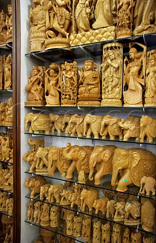 Indian wood carvings for sale in Euphoria Arts Emporium Government of India recognised shop in Jew Town Mattancherry Kochi Cochin Kerala India