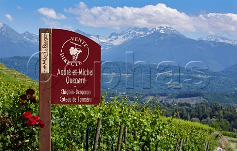 Sign for winery of Domaine Andr et Michel Quenard Chignin Savoie France