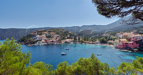 Village of Assos with houses and tavernas overlooking its bay Cephalonia Ionian Islands Greece