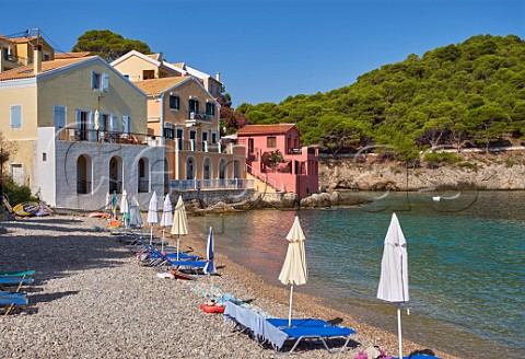 Village of Assos with houses on its bay Cephalonia Ionian Islands Greece