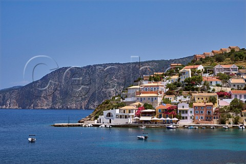Village of Assos with houses and taverna overlooking its bay Cephalonia Ionian Islands Greece